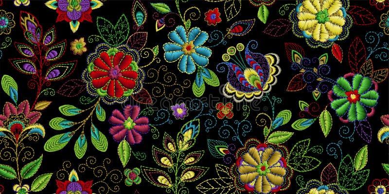 Hafciarski bezszwowy wzór z pięknymi kwiatami Wektorowy handmade kwiecisty ornament na ciemnym tle Broderia dla royalty ilustracja