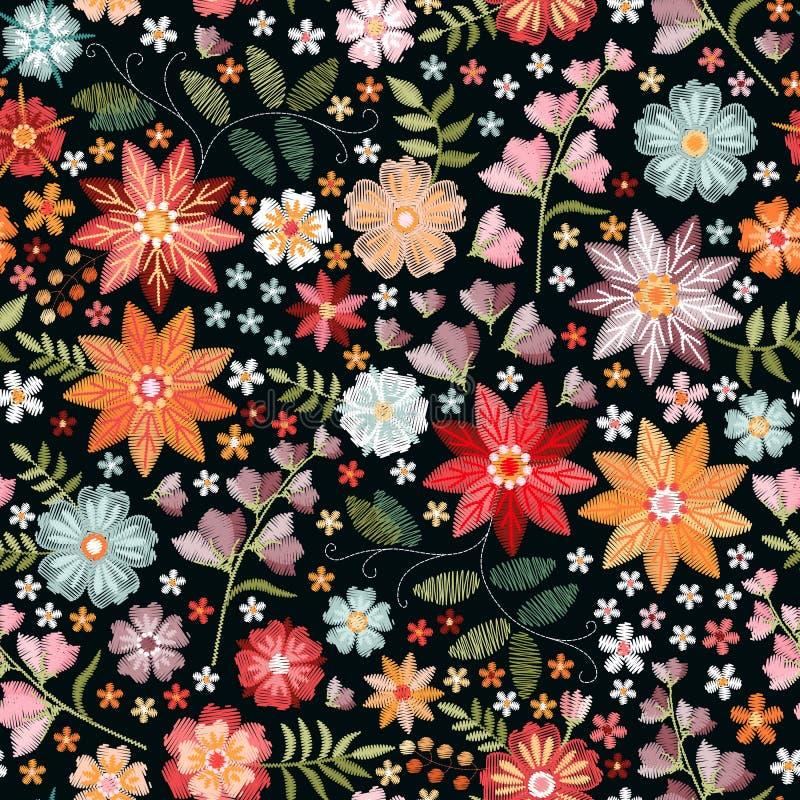 Hafciarski bezszwowy wzór z pięknymi kolorowymi kwiatami w boho stylu Fasonuje druk dla tkaniny, tkanina, opakunkowy papier royalty ilustracja