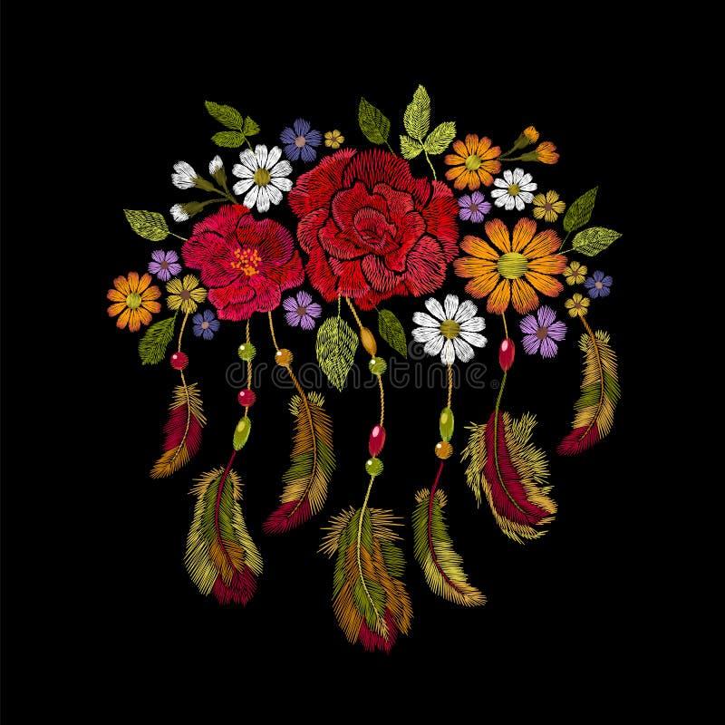 Hafciarski boho rodowitego amerykanina hindus upierza kwiatu przygotowania Odziewa etniczną plemienną moda projekta dekorację ilustracja wektor