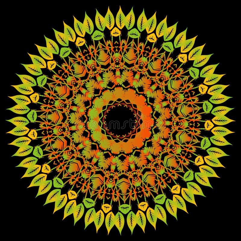 Hafciarski kolorowy kwiecisty koronkowy mandala wzór wektor t?o wektor Textured kwiecisty etniczny koronkowy ornament z jesienią royalty ilustracja