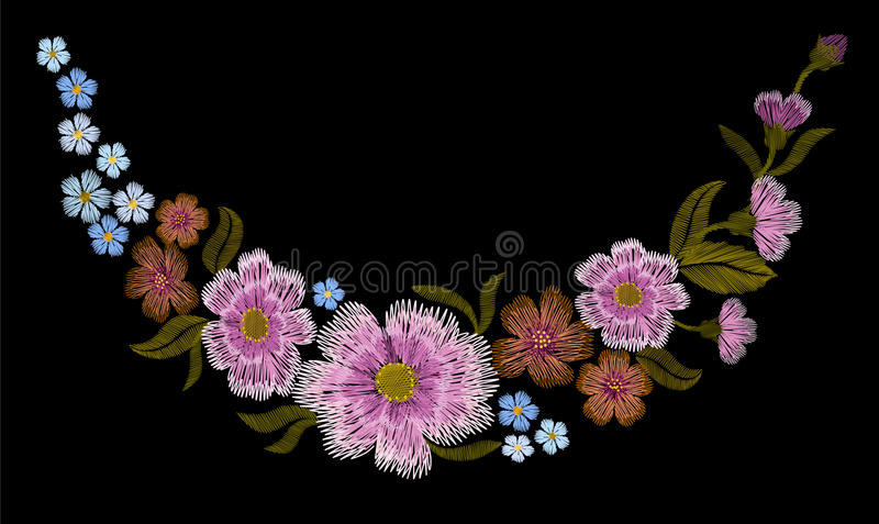 Hafciarski kolorowy kwiecisty wzór z psimi różami i zapomina ja nie kwiaty Wektorowy tradycyjny ludowy moda ornament dalej ilustracja wektor