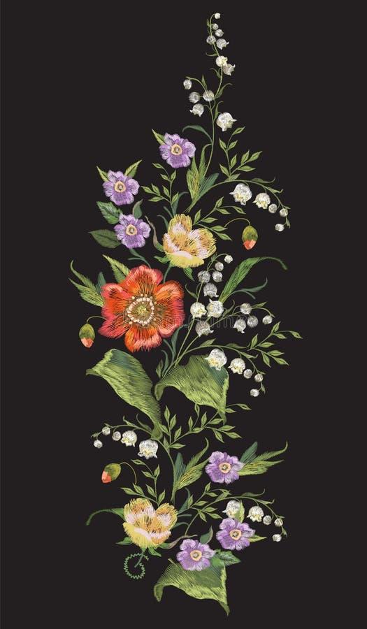 Hafciarski kolorowy pionowo kwiecisty wzór z maczkami ilustracja wektor