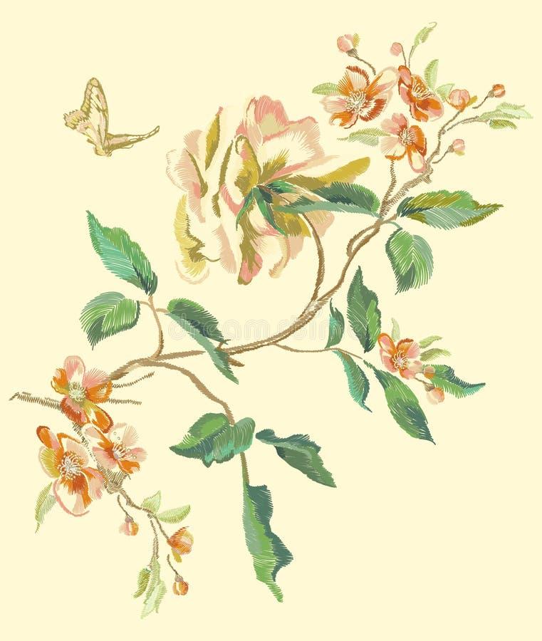 Hafciarski kwiecisty wzór z peonią i swallowtail royalty ilustracja