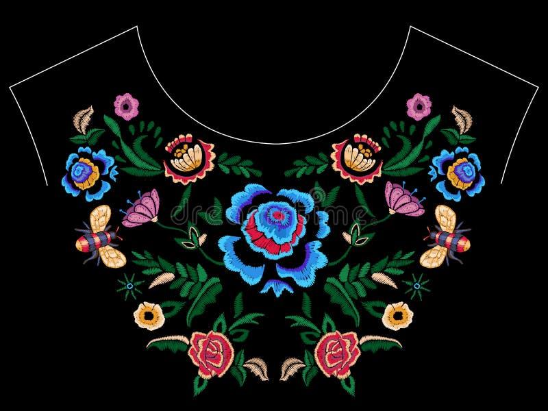 Hafciarski ludowy neckline wzór z fantazją upraszcza kwiaty royalty ilustracja