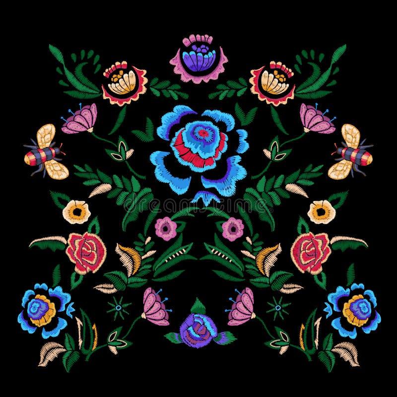 Hafciarski ludu wzór z fantazja kwiatami ilustracji
