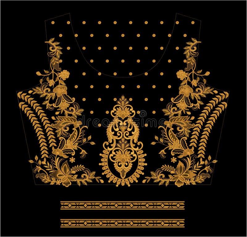 Hafciarski Motitf druku Tekstylny projekt Dla Mughal sztuki Illustrat, ilustracja zdjęcia stock