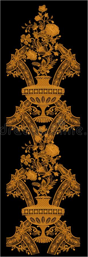 Hafciarski Motitf druku Tekstylny projekt Dla Mughal sztuki Illustrat, ilustracja zdjęcie royalty free