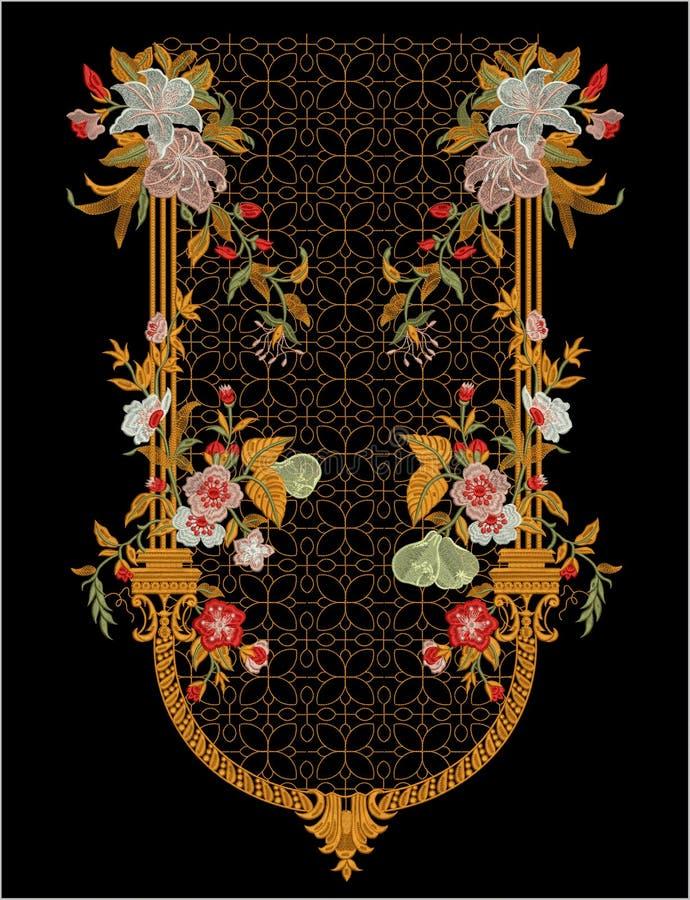 Hafciarski Motitf druku Tekstylny projekt Dla Mughal sztuki Illustrat, ilustracja fotografia stock