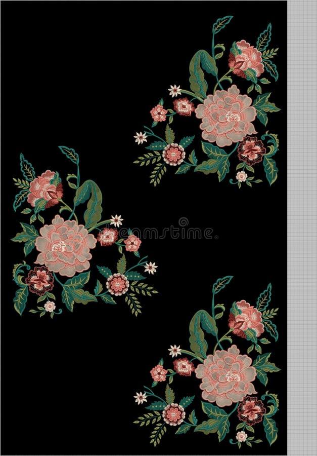 Hafciarski Motitf druku Tekstylny projekt Dla Mughal sztuki Illustrat, ilustracja obraz stock
