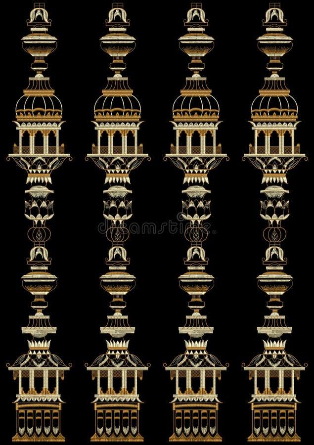 Hafciarski Motitf druku Tekstylny projekt Dla Mughal sztuki Illustrat, ilustracja fotografia royalty free