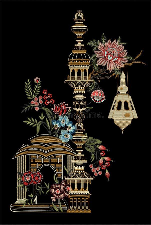 Hafciarski Motitf druku Tekstylny projekt Dla Mughal sztuki Illustrat, ilustracja obrazy royalty free