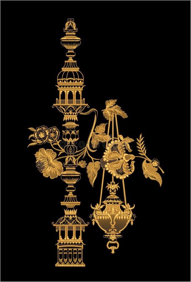 Hafciarski Motitf druku Tekstylny projekt Dla Mughal sztuki Illustrat, ilustracja obrazy stock
