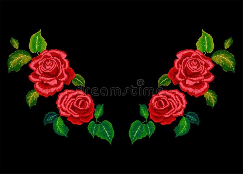 Hafciarski neckline wzór z czerwonymi różami ilustracja wektor