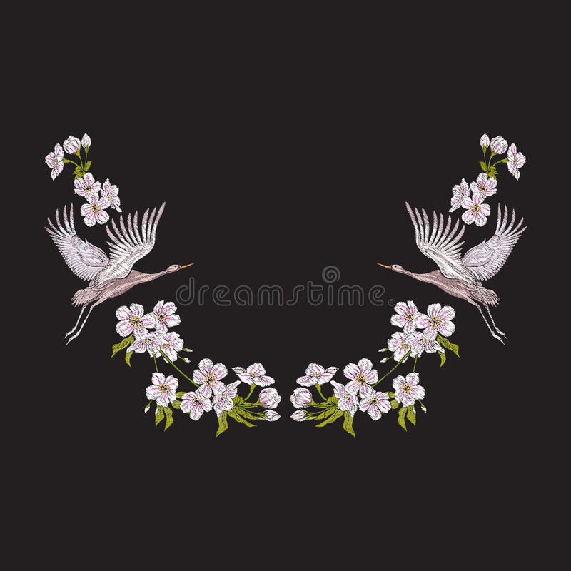 Hafciarski neckline z kwiatami i żurawiem na czarnym tle ilustracji