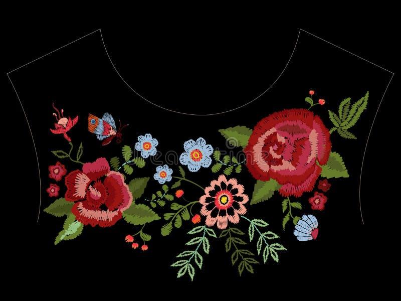 Hafciarski rodzimy neckline wzór z różami i fantazja kwitniemy ilustracja wektor