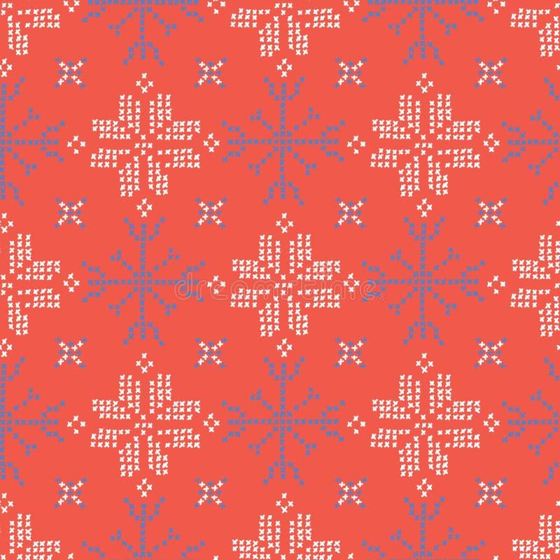 Hafciarskich płatków śniegu ściegów wektoru Bezszwowy wzór Przecinający ścieg royalty ilustracja
