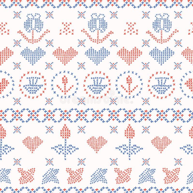 Hafciarskich Sampler ściegów wektoru Bezszwowy wzór ręka patroszona ilustracja wektor