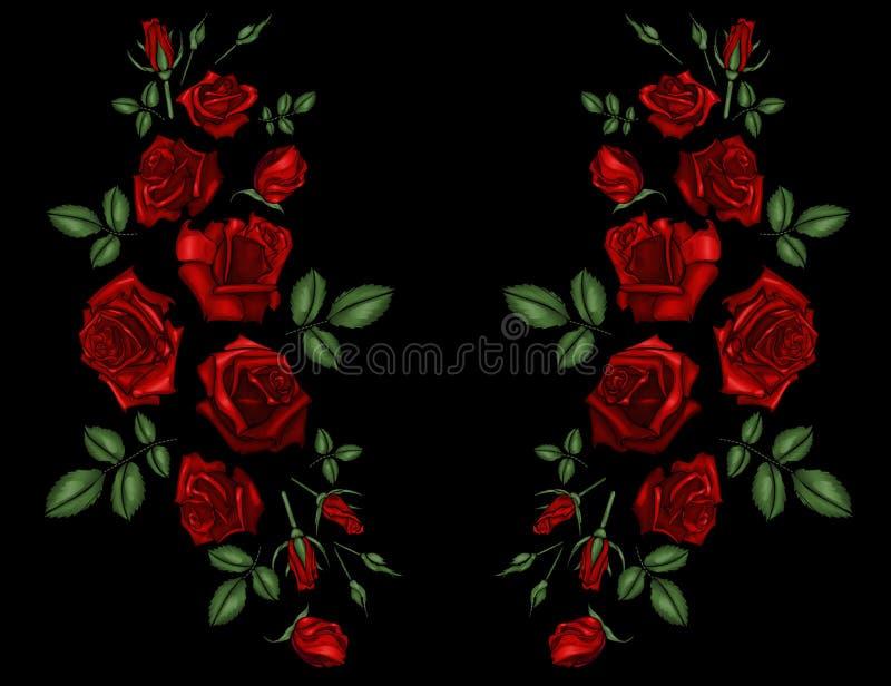 Hafciarskie etniczne kwiat szyi linii kwiatu projekta grafika fasonują być ubranym ilustracja wektor