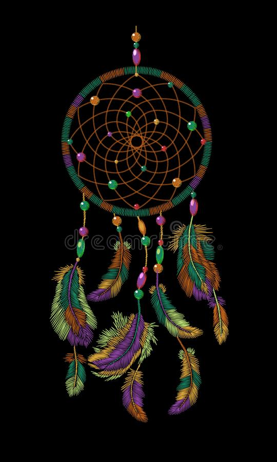 Hafciarskiego boho rodowitego amerykanina dreamcatcher indyjscy piórka Odziewa etnicznego plemiennego moda projekta sen łapacza ilustracji