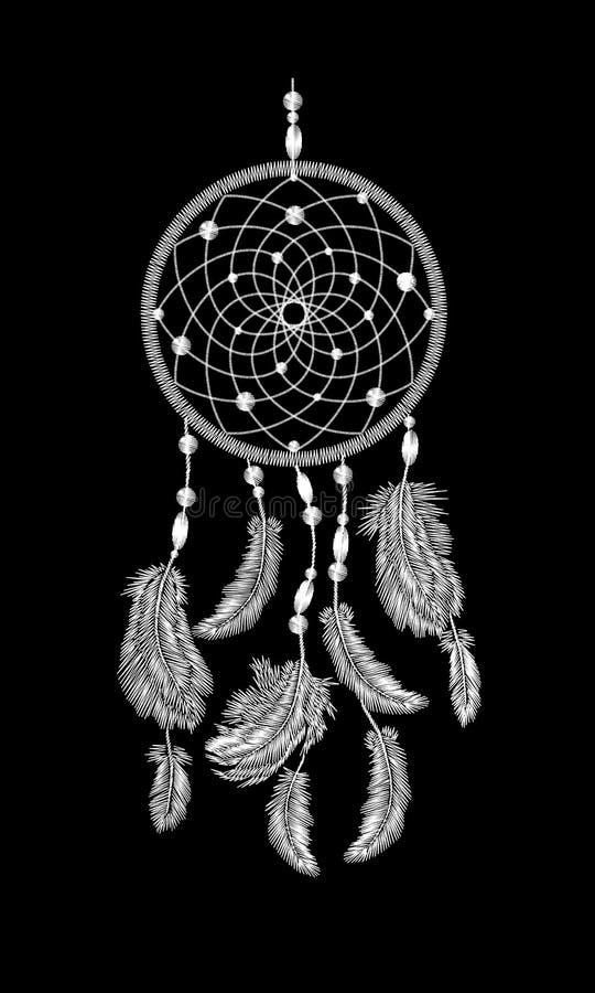 Hafciarskiego boho rodowitego amerykanina dreamcatcher indyjscy piórka Odziewa etnicznego plemiennego moda projekta sen łapacza ilustracja wektor