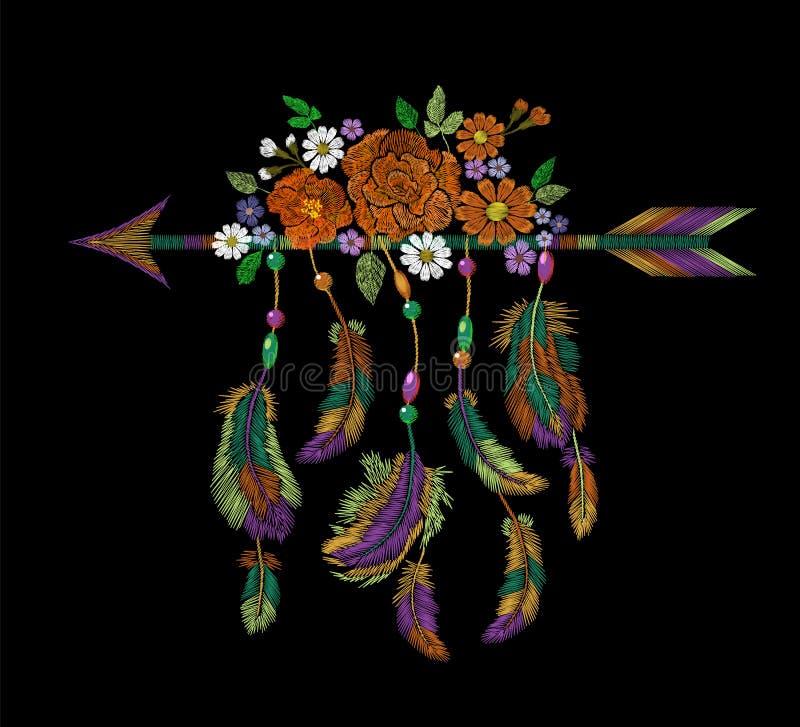 Hafciarskiego boho rodowitego amerykanina indyjska strzała upierza kwiaty Odziewa etniczną plemienną moda projekta dekoraci łatę ilustracja wektor