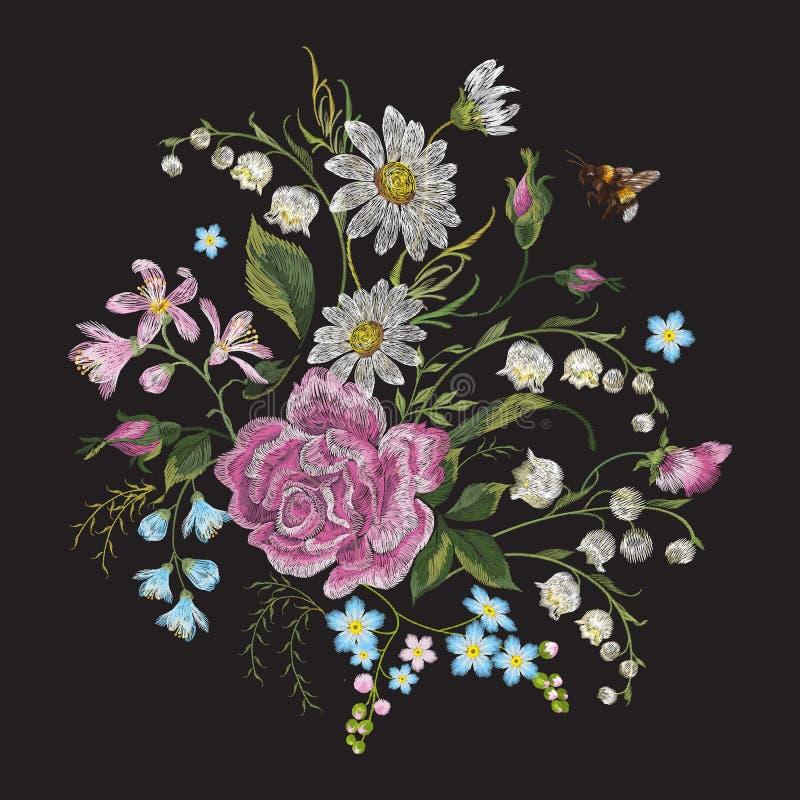 Hafciarskiego brigt trendu kwiecisty wzór z pszczołą royalty ilustracja