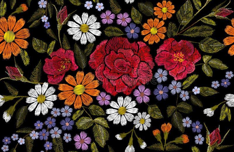 Hafciarskiego kwiat stokrotki gerbera majcheru łaty mody różanego makowego zielarskiego bezszwowego druku tekstylna wektorowa ilu ilustracja wektor