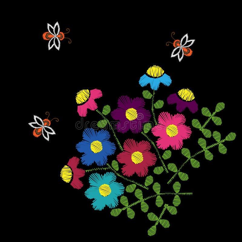 Hafciarskiej ścieg imitaci etniczny kwiecisty wzór z kwiatem ilustracja wektor