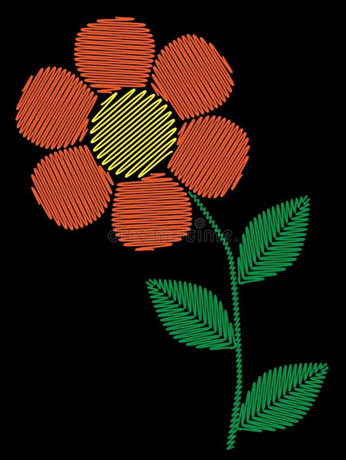 Hafciarskiej ścieg imitaci prosty pomarańczowy kwiat ilustracja wektor