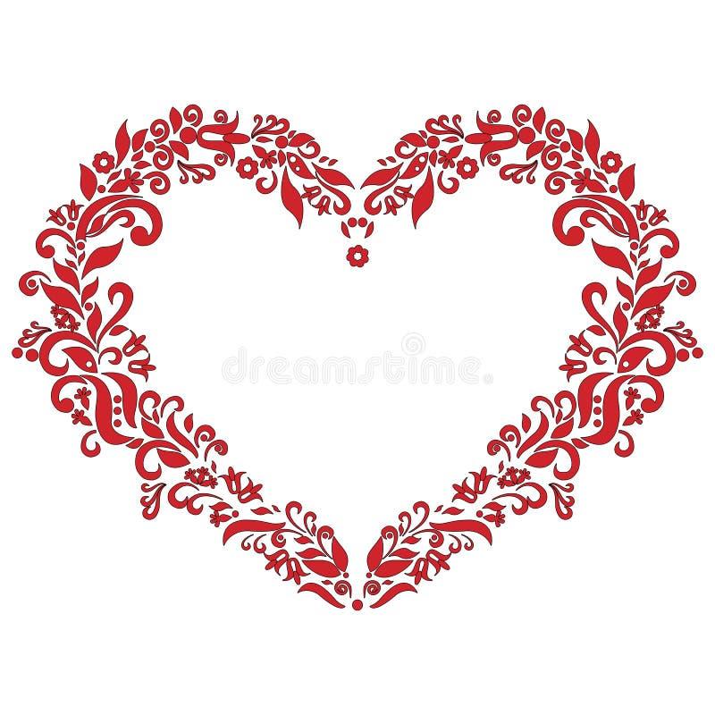 Hafciarskiej inspirowanej miłości kształta kierowy wzór w czerwieni z kwiecistymi elementami na białym tle z czarnym uderzeniem ilustracji