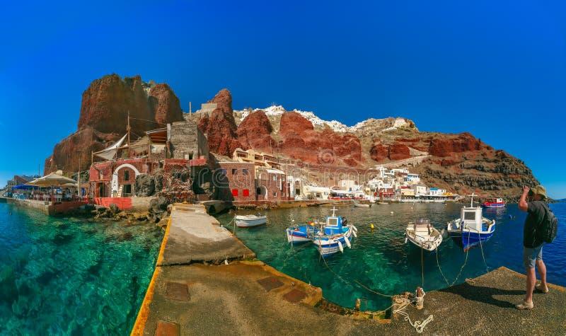Hafen Amoudi von Oia oder von Ia, Santorini, Griechenland lizenzfreie stockbilder