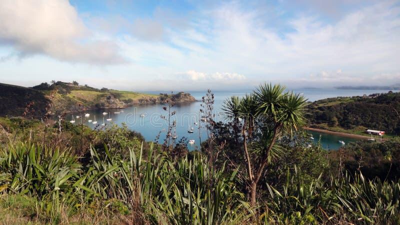 Hafen-Ansicht von der Spitze Waiheke-Insel in Neuseeland lizenzfreies stockfoto