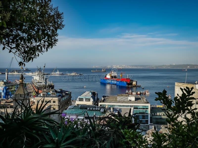 Hafen-Ansichtsommer Chiles Valparaiso stockbilder