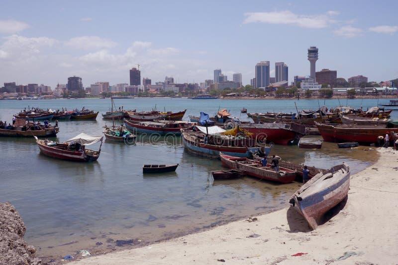 Hafen in Daressalam, Tanzania stockfotografie