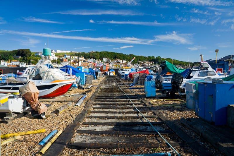Hafen in Hastings, Großbritannien lizenzfreie stockfotos