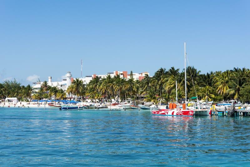 Hafen in Isla Mujeres, Mexiko stockfotos