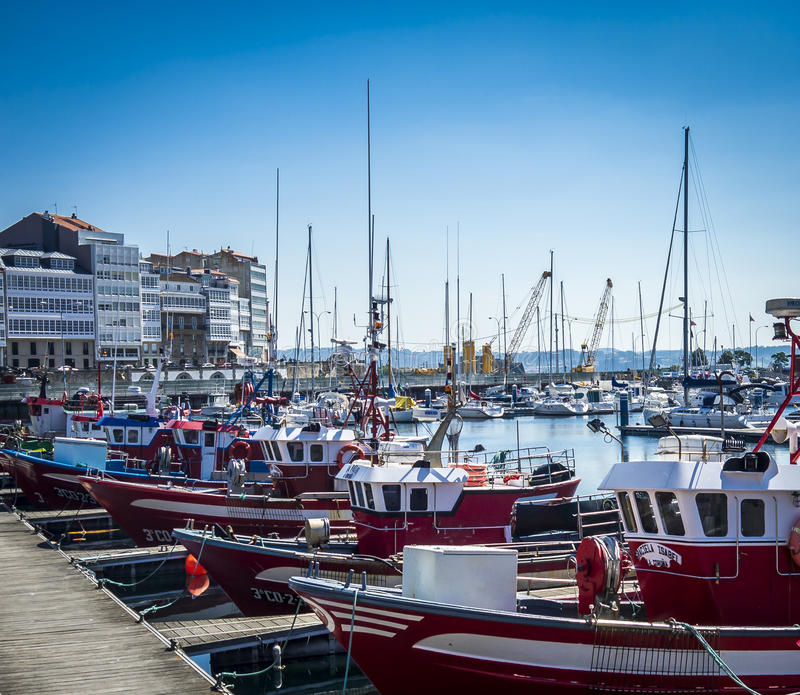 Hafen am La Coruna stockfotografie