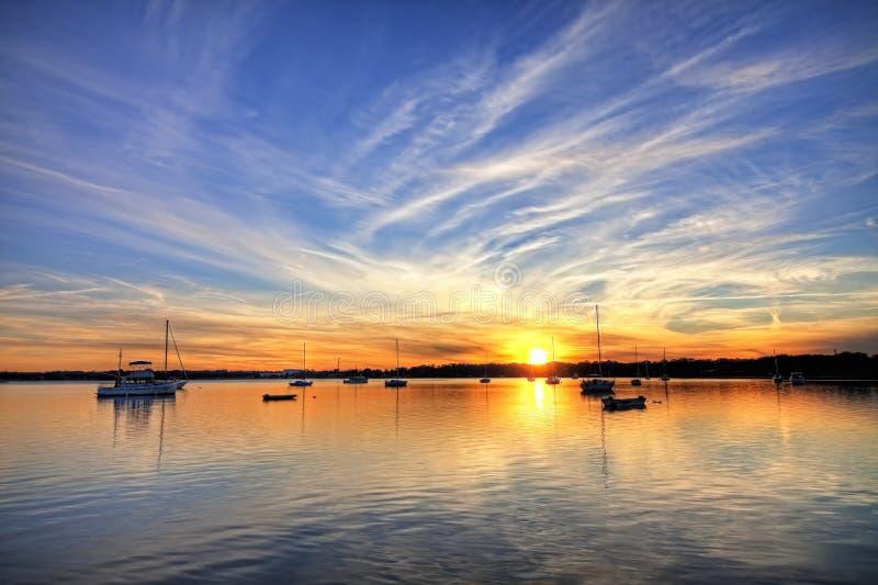Hafen mit Segelboote hdr stockfotografie