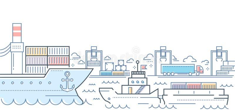 Hafen - moderne Linie bunte Illustration der Designart vektor abbildung