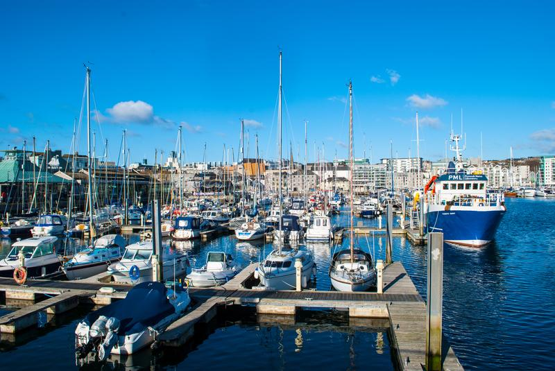 Hafen in Plymouth stockfotos