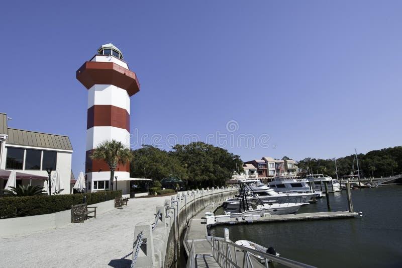 Hafen-Stadt Lighthoese stockbild