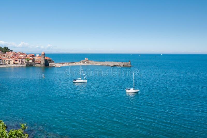 Hafen von Collioure stockfotos