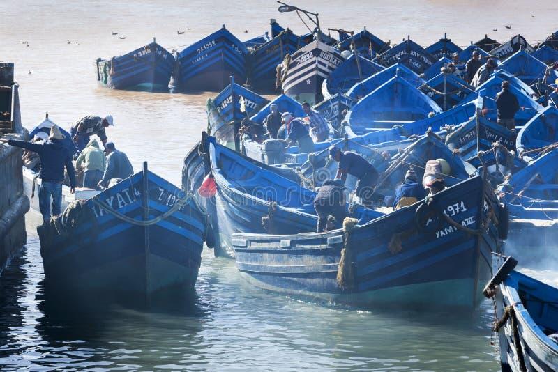 Hafen von Essaouira in Marokko stockfotos
