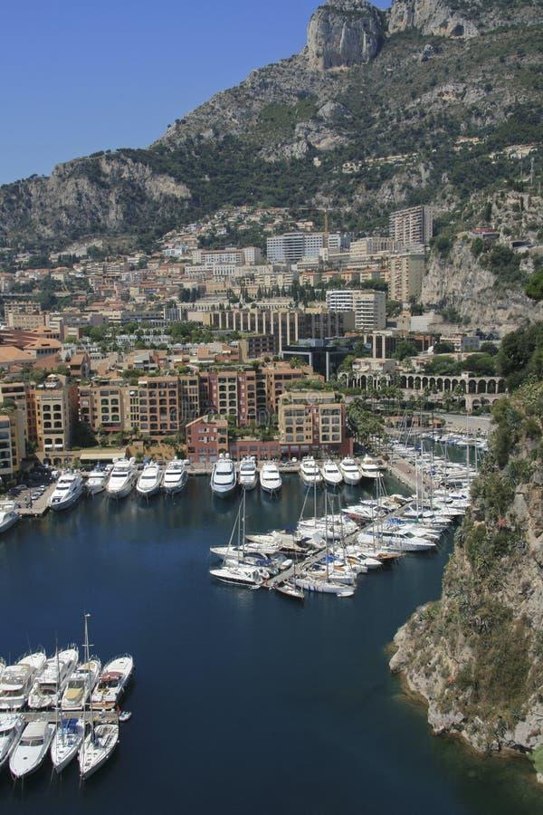 Hafen von Fontvieille in Monaco stockbilder