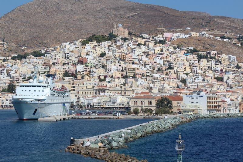 Hafen von griechischer Insel lizenzfreie stockbilder