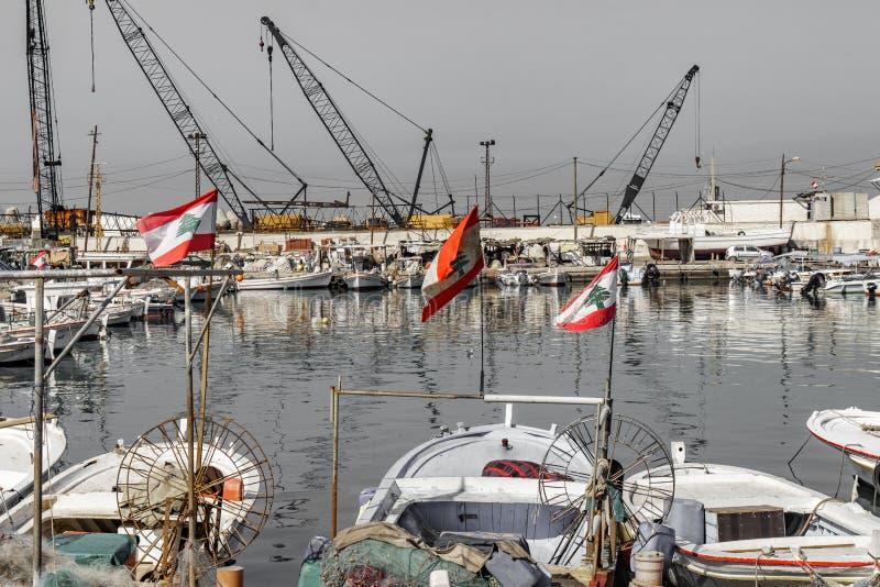 Hafen von Sidon Saida Libanon 3. Februar 2018 lizenzfreies stockfoto