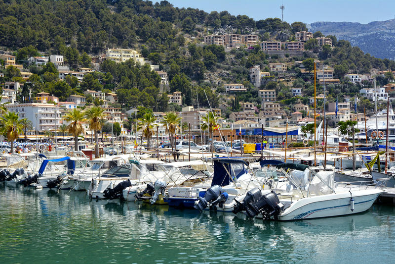 Hafen von Soller, Mallorca-Insel lizenzfreies stockfoto