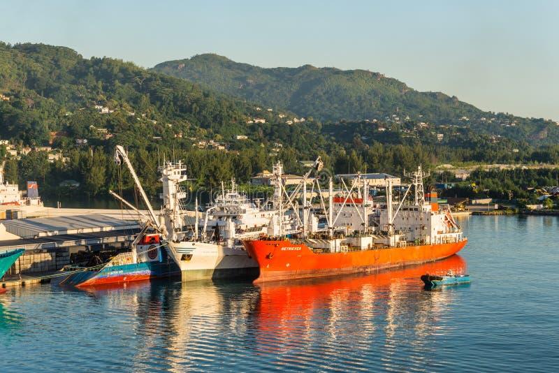 Hafen von Victoria, innerer Hafen gelegen in Seychellen lizenzfreie stockfotografie