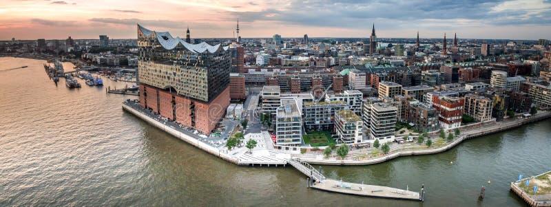 Hafencity汉堡的鸟瞰图 库存照片