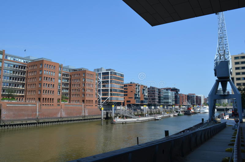 Hafencity Hamburg, ett splitterny hamnkvarterområde i Hamburg arkivfoton
